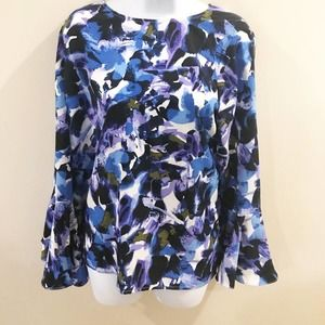 H Halston Floral Tie Back Bell Sleeve Blouse M